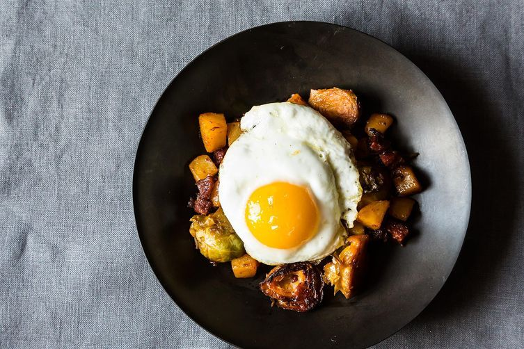 Brussels Sprout and Chorizo Hash on Food52