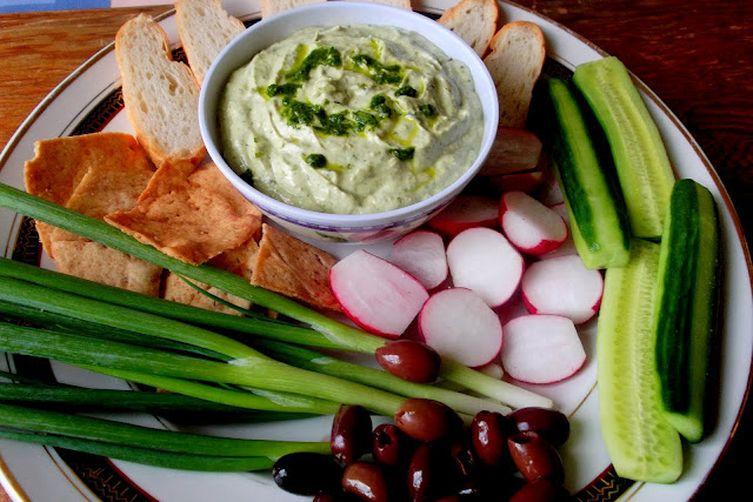 Roasted Garlic, Avocado, Brie and Green Sauce Dip