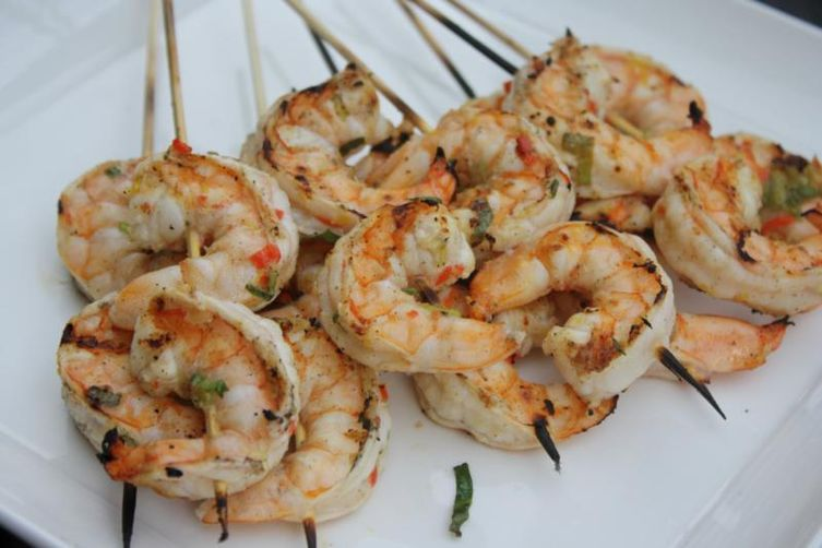 Zone Manhattan Patriotic Papaya Grilled Shrimp Kabobs