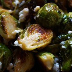 Spicy Roasted Brussels Sprouts with Blue Cheese