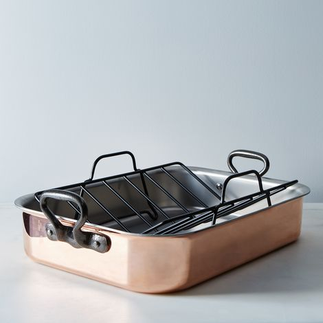 Mauviel M'héritage Copper Roasting Pan with Rack