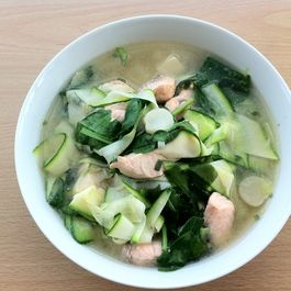 Miso salmon soup with zucchini noodles