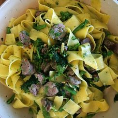 Homemade Pappardelle with Sausage & Broccoli Rabe