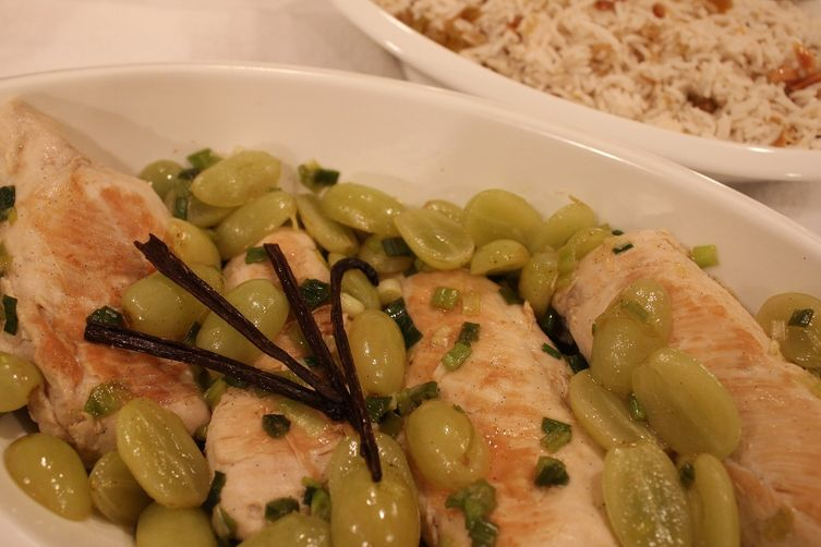 Vanilla Bean and Green Grape Chicken with Vanilla Scented Pilaf