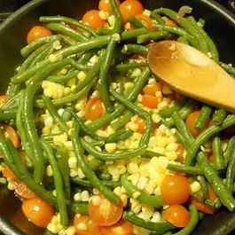 Sweet Corn, Green Bean and Cherry Tomato Salad