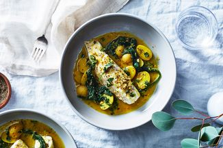 Martha Rose Shulman's Quick-Braised Fish With Baby Potatoes & Greens Recipe on Food52