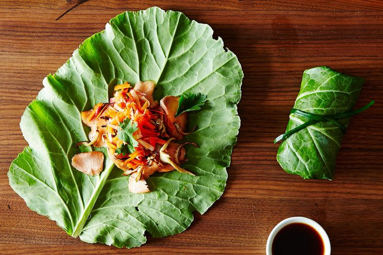 Asian summer rolls with leftover fish and market greens for Leftover fish recipes