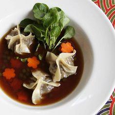 Mushroom Broth with Smoked Eggplant Dumplings