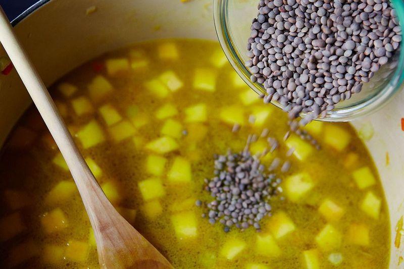 Le Puy lentils about to become Le Puy lentil soup.