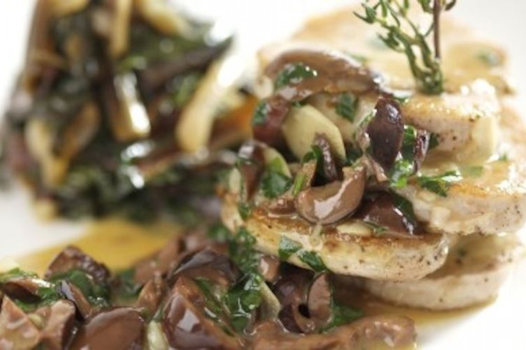 Pork Scallops over a warm Mushroom Sauce