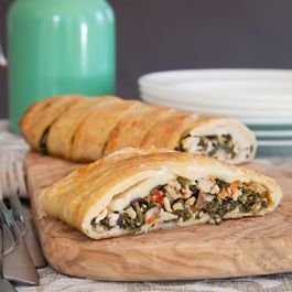 Potato Pastry Stuffed with Kale, Pork & Feta