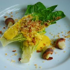 Caesar Salad with Anchovy Wrapped Garlic and Savory Lemon Sabayon