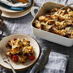 Bacon, Parmesan, and Cherry Tomato Strata