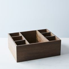 Wooden & Brass Flatware Holder