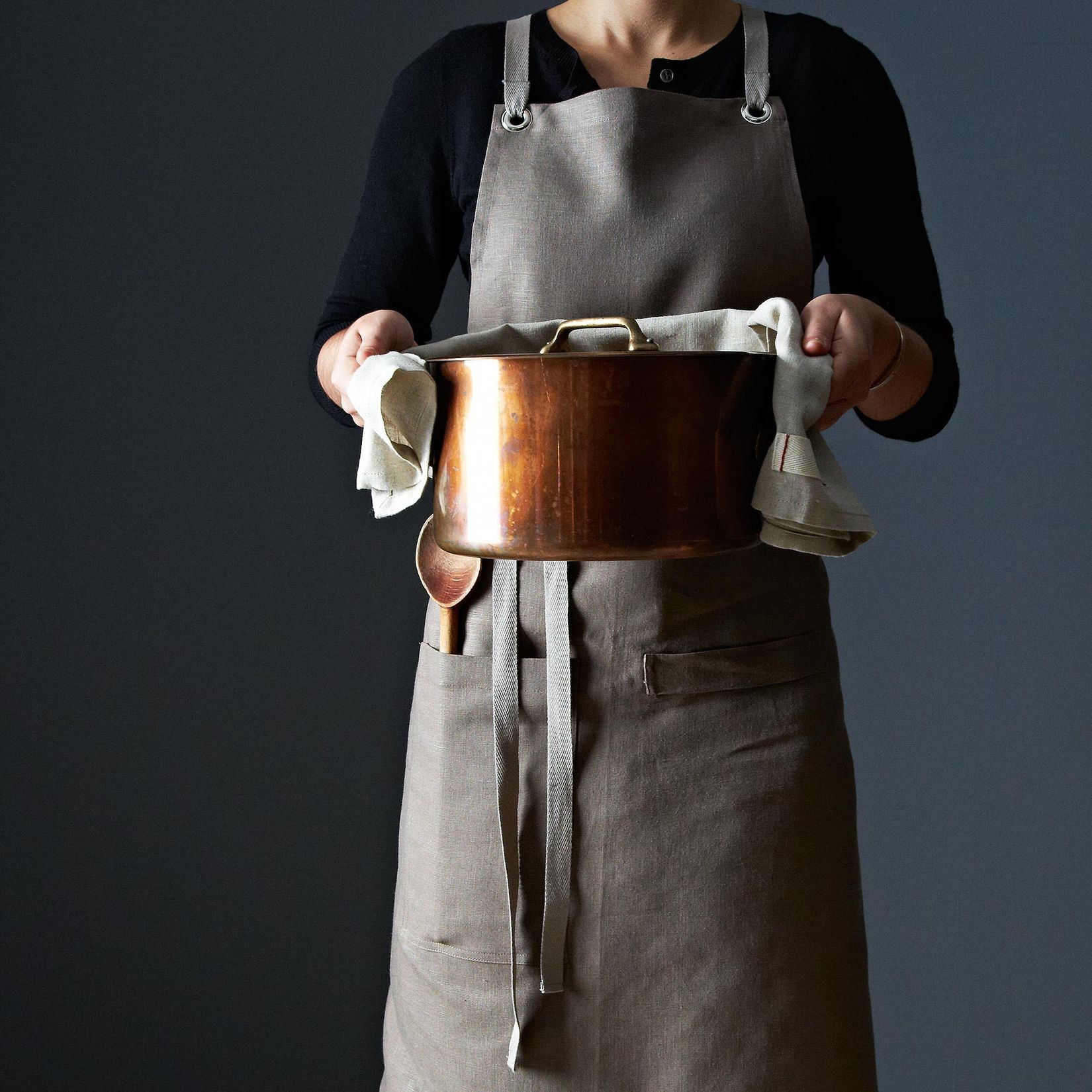 White Kitchen Apron bark cross-back kitchen apron with slate ties on food52