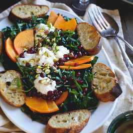Kale Persimmon Salad with a Red and White Balsamic Vinaigrette