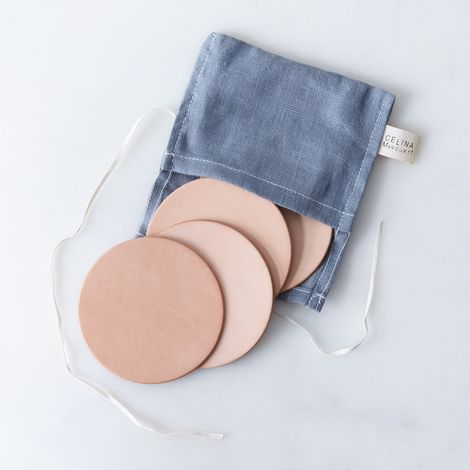 Veg Tanned Leather Coasters (Set of 4)
