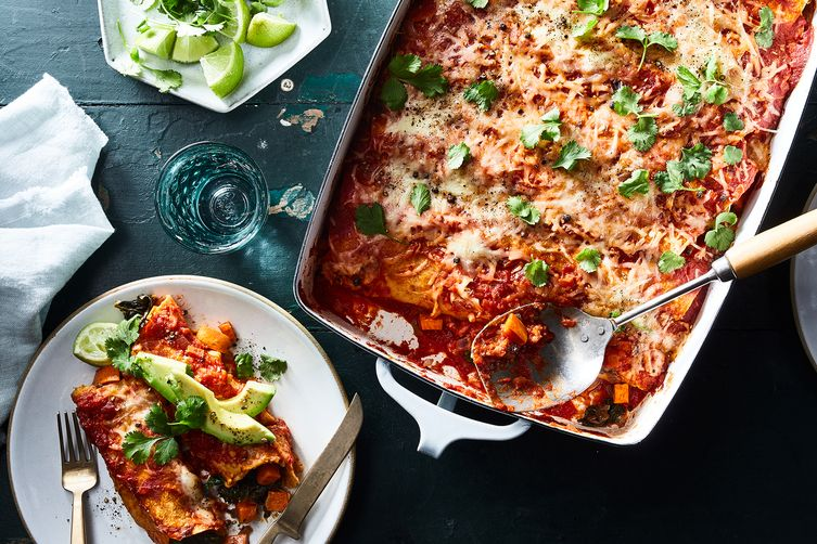 Roasted Yam & Collard Green Enchiladas