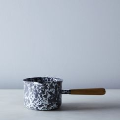 Grey Splatter Enamel Wood-Handled Saucepan