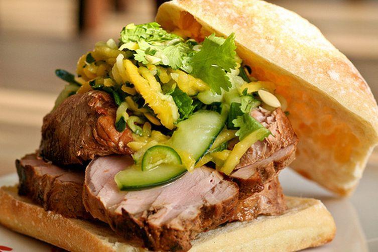 Pork Sandwich w/ Spicy Mango Cucumber Slaw