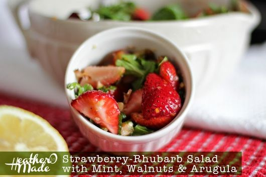 Strawberry-Rhubarb Salad with Mint, Walnuts & Arugula