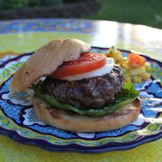 Rosemary Herbed Bison Burger with Green Olive Tapenade and Warm Mozzerella