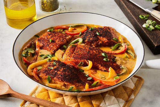 Crispy One-Pan Salmon With Creole Cream Sauce