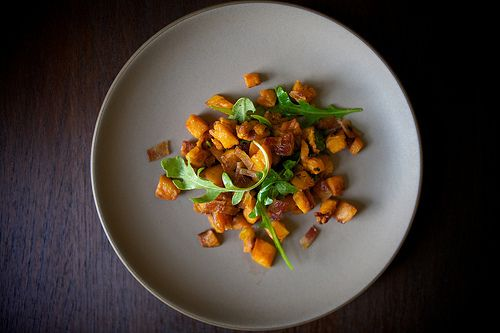 sweet potatoes, arugula, bacon