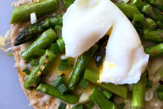 Tortilla Pizza with Asparagus, Parm & Poached Egg