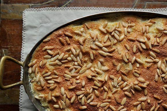 Airy Rosemary Citrus Pignole Bread Pudding