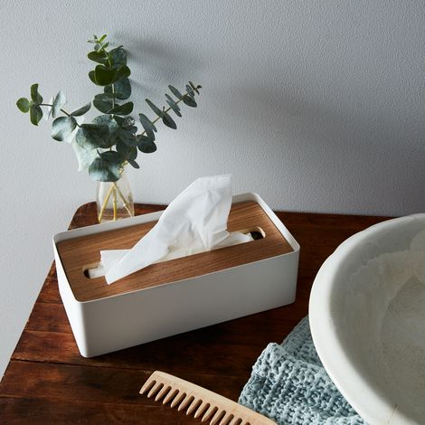 Wood & Steel Tissue Box