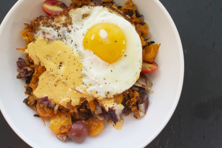 Sweet Potato, Radicchio + Tomato Hash with Harissa Hollandaise