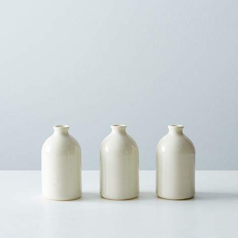 White Porcelain Bud Vases (Set of 3)