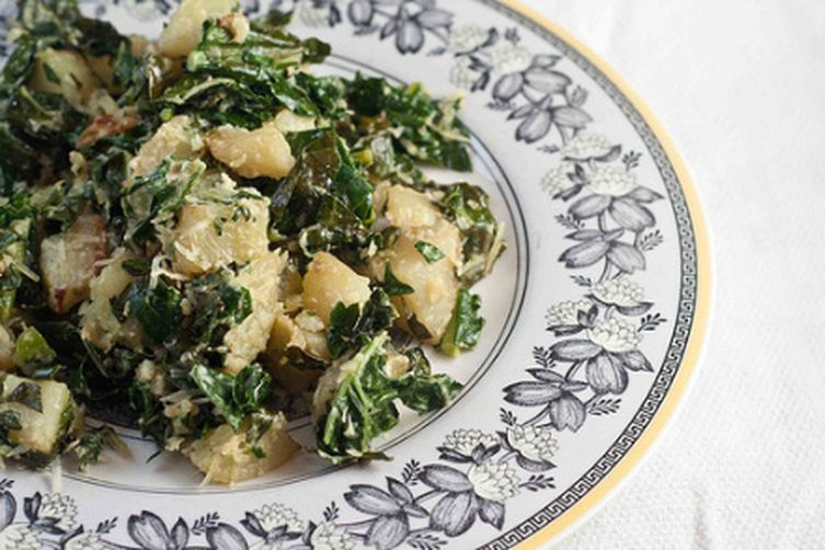 Roasted Kale and Potato Salad with Tahini Dressing