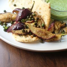 Fried Green Chickpeas + Baby Eggplant with Yogurt Chutney