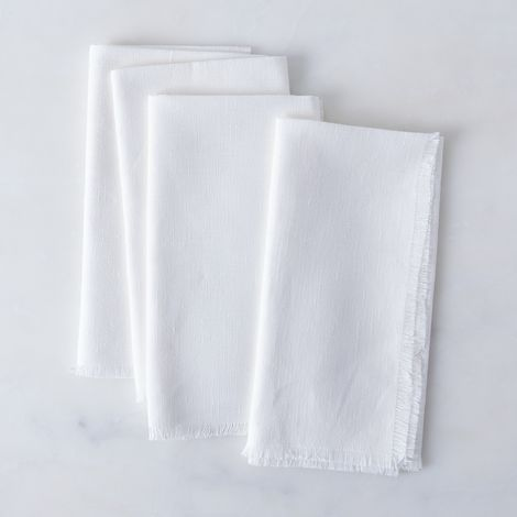 White Fringed Linen Napkins (Set of 4)