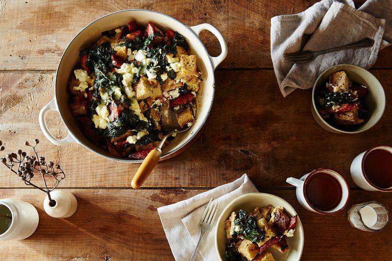 Mushroom, Kale, and Sausage Strata by Kendra Vaculin