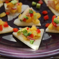 Mango Salsa on Jicama Triangles