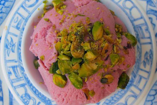 Raspberry Kirsch Gelato with Pistachios