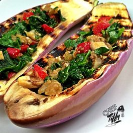 SPINACH & ROASTED RED PEPPER GRILLED MINI EGGPLANT BOATS