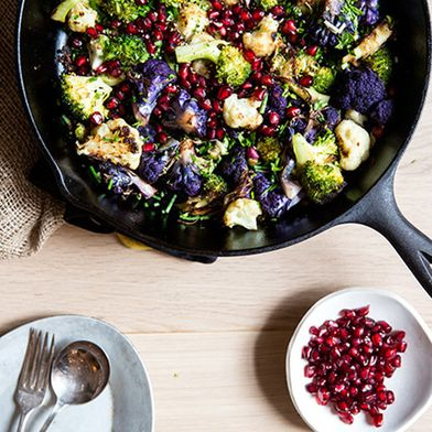 Roasted Broccoli with Cauliflower, Pomegranates & Tahini