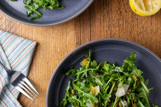 Baby Arugula Salad with Toasted Pepitas and Shaved Parmesan