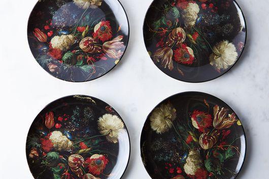 Floral Print Melamine Plates (Set of 4)