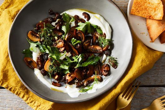 Seared Mushrooms With Lemon-Cumin Labneh