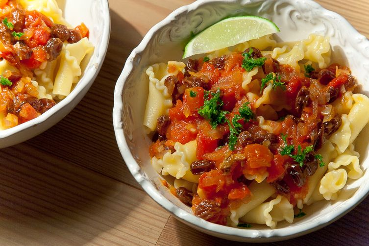 Sicilian Pasta with Tomatoes, Raisins and Lime