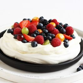 Berry Pavlova with glossy white meringue