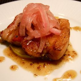 Braised Berkshire Bacon with Pickled Onions
