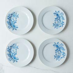 Swedish Blue Rosemaling Dessert Plates (Set of 4)