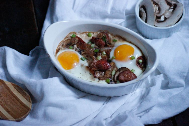 Baked Eggs in Mushroom and Sausage