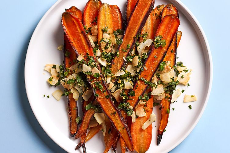 Roasted Carrots + Toasted Coconut Gremolata